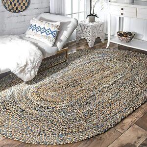 Oval Rug Natural Denim Jute Braided Rug Handmade Carpet Modern Living Area Rug