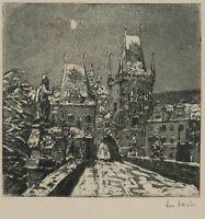 L. HORST (1900), Nachts am Brückenturm, um 1950, Aquatinta Rad.