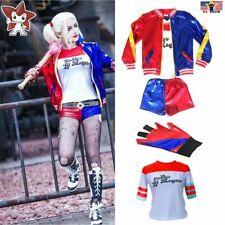 Halloween Costume Super Hero Harley Quinn Deluxe T-shirt Jacket Coat Short Glove