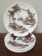 Johnson Brothers THE OLD MILL Brown Multicolor Dinner Plates Set of Six (Lot 1)