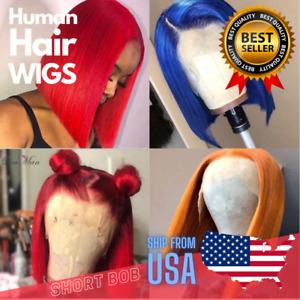 Lace Part Human Hair Wig Short Bob Wigs 150% Human Hair Wig Blue Orange Red Lase