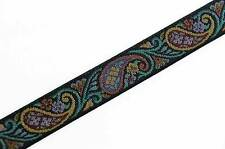 Jacquard, Tapestry, Paisley Trim. Victorian Style Woven Tapestry Ribbon