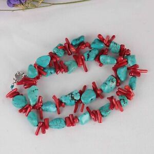 Red coral branch Turquoise Gemstone DIY handmade chain 15inches Women Wedding