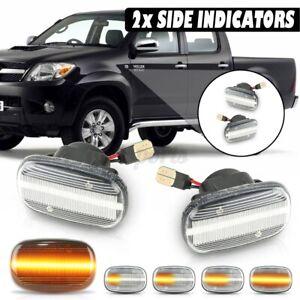 Pair Dynamic LED Side Indicator Marker Lights For Toyota Hilux Vigo MK6 SR