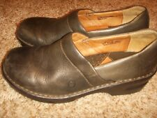 BORN Clogs Green Leather Shoes Womens Size 8.5/40