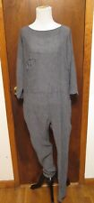 Electric Feathers Gray Cotton Crepe Long Sleeve Single Pocket Jumpsuit Sz S