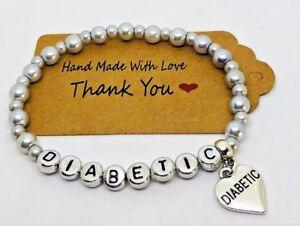 Handmade Beaded Medical Alert ID bracelet, Diabetes Diabetic Heart Charm Love