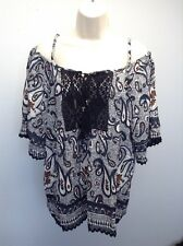 ANGIE Anthropologie NEW Off Shoulder Festival  BOHO Print Peasant Top Shirt