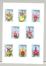 Grenada #1800-1809 Orchids, Expo 90 8v & 2v S/S Imperf Proofs Mounted on Cards