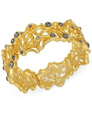 T Tahari Midnight Lace Openwork Crystal Accent Stretch Bangle Bracelet NEW