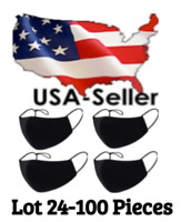 Lot 24-100 Black Cotton Cloth Face Mask Washable Reusable Three Layer USA Seller