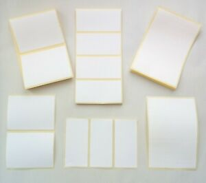 Plain White Sticky Self Adhesive Stickers Address Printer Labels. Multiple Sizes