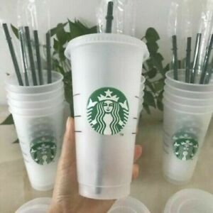 NEW Starbucks Logo Reusable Plastic Cold Cup with Straw, 750ML