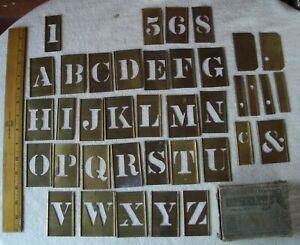 """Set Reese's 1 3/4"""" Brass Interlocking Adjustable Stencils In Original Box Extras"""