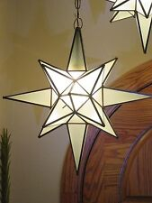 """Moravian Star -24"""" frosted  glass multiple point with canopy and chain/wire"""