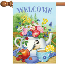 New Toland - Teatime - Cute Spring Welcome Flower Bird Double Sided House Flag