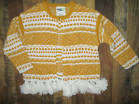 GENUINE KIDS FROM OSHKOSH Cardigan Sweater Long Sleeve Gold & Ivory Girls 2T