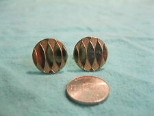 Vintage Gold Plated Round Diamond Texture Background Cufflinks Swank        CG12