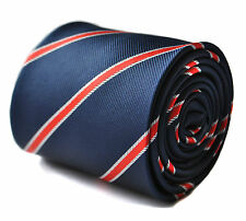 Frederick Thomas Navy & Red Striped Mens Tie FT1712 RRP£19.99