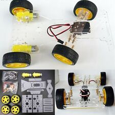 DIY Steering Engine 4 wheel 2 Motor Smart Robot Car Chassis Kit For Arduino NEW