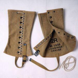 Replica  WWII WW2 US Army M1938 Outdoors Canvas Leggings Feet Wear US   SIZE 4R