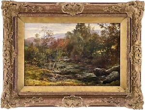 River Landscape Antique Oil Painting by George Arthur Hickin (1821-1885)