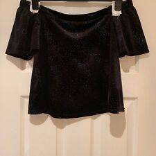 New Look Black Off Shoulder Short Sleeve Top with Blue Sequins - Size 10