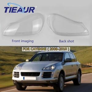 Right+Left Headlamp Headlight Transparents Lens Cover For Porsche Cayenne 08-10