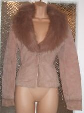 GORGEOUS LINED NUDE REAL LEATHER FAUX FUR COLLAR JACKET BY MANGO SIZE 8 UK SMALL