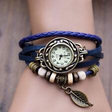Women Girls Bracelet Vintage Weave Wrap Quartz Leather Leaf Beads Wrist Watch