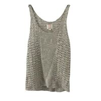 Quiksilver Crochet Knit Sleeveless Sweater Tank Womens Size M/L Scoop Neck Top