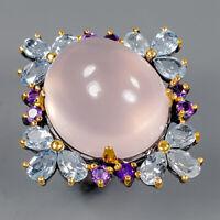 Rose Quartz Ring Silver 925 Sterling Big IF 37 ct+ gem Size 8.75 /R145143