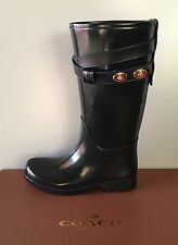 New - Women's Coach Trisha Rubber/Mat Rubber Leather Black Rain Boots Size 6