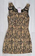 MISS SELFRIDGE size 6 petite PINAFORE DRESS mustard SNAKE PRINT mini black