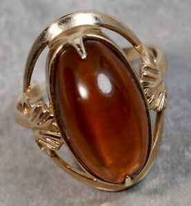 Russian 14K Rose Gold Amber Floral Cocktail Ring