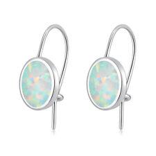 HOT SELL White Fire Opal Women Jewelry Gems Silver Drop Earrings 18mm OH3023