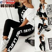 2PCS Women's Tracksuit Set Off Shoulder Tops Pants Suit Casual Sport Lounge Wear