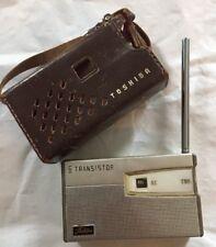 Toshiba 6 Transistor AM Pocket Radio  In Leather Case Japan Model 6tp 385