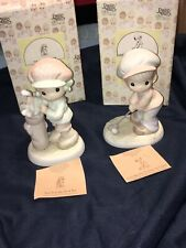 New ListingPrecious Moments - Cute His 'n Her's Golf Figurines, Matched Pair, New In Boxes!