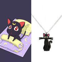 Sailor Moon Luna Purple Cat Metal Pendant Necklace Jewelry Cosplay Gift