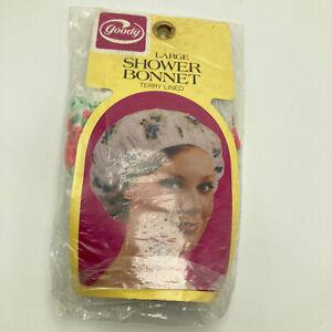 Vintage Goody Large Shower Bonnet Terry Lined Cap Floral