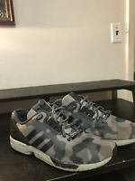Adidas ZX Flux Decon Camo Mens Grey Black Running Shoes Size 11.5