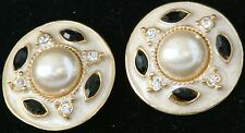 New HIGH QUALITY 1981 Vintage RD EARRINGS w.PEARL Enamel &Rhinestone CLIP-On 201