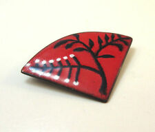 VINTAGE METAL RED BLACK WHITE JAPANESE FAN PIN / BROOCH ***