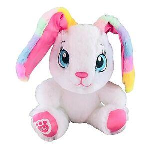 """Build A Bear White Bunny Rabbit Plush Soft Toy Rainbow Colour Ears 7"""" Tall"""