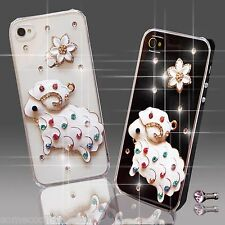 NEW 3D DELUX BLING CLEAR DIAMOND ANIMAL FLOWER CASE COVER FOR MOBILE PHONES UK