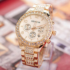 Geneva Luxury Women's Date Crystal Stainless Steel Quartz Dress Wrist Watch NEW