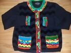 UGLY CHRISTMAS SWEATER By BEREK Loaded w/ Mirrors Ornaments Sequins Beads M