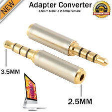 3.5mm Male to 2.5mm Female Stereo Audio Headphone Jack Adapter Converter Gold UK