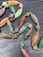 "Vintage Lucite Swirl Large Beaded Multi Color  Strand Bib Statement Necklace 30"""
